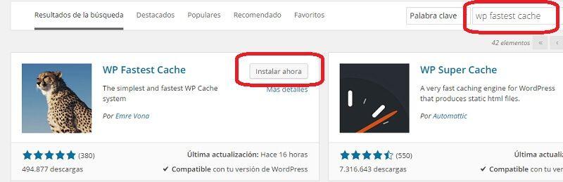 instalar wp fastest cache